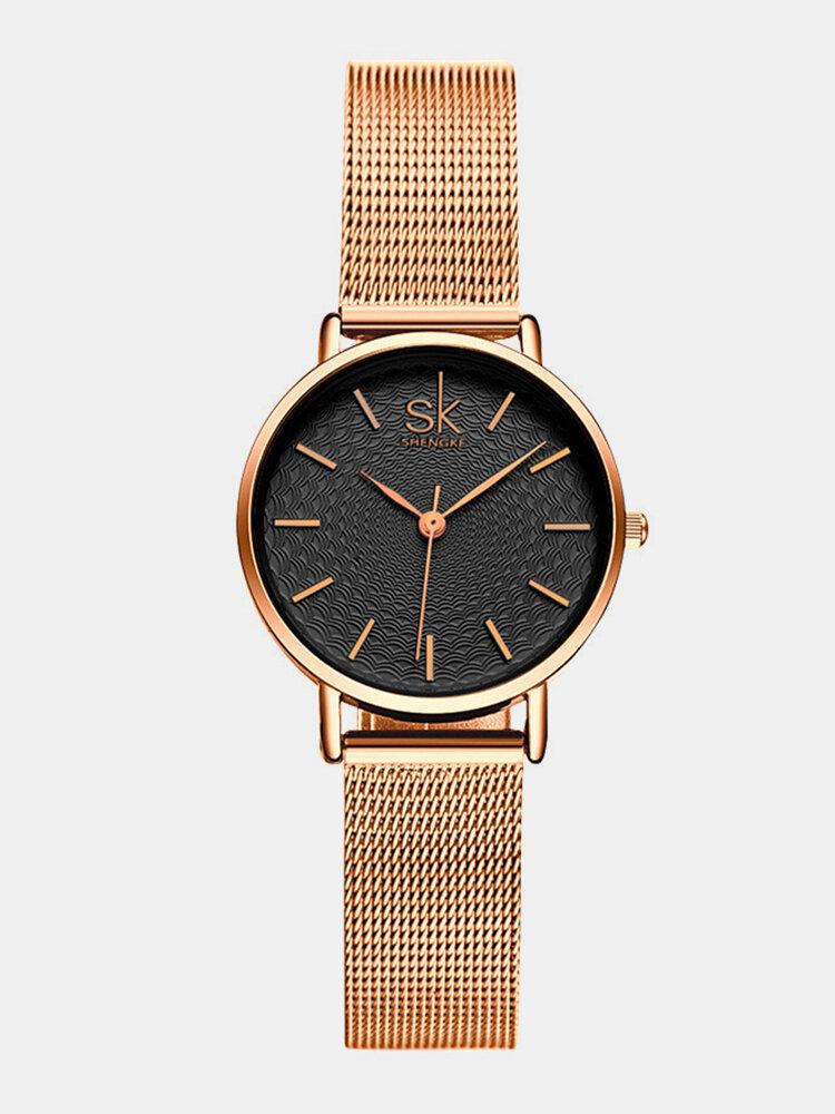 SHENGKE Classic Quartz Watches Ultra Thin Waterproof Leather Stainless Steel Minimalist Wathces