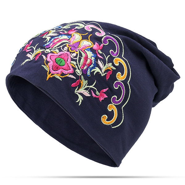 Women Ethnic Style Embroidery Cotton Breathable Beanie Hat Vintage Turban Caps
