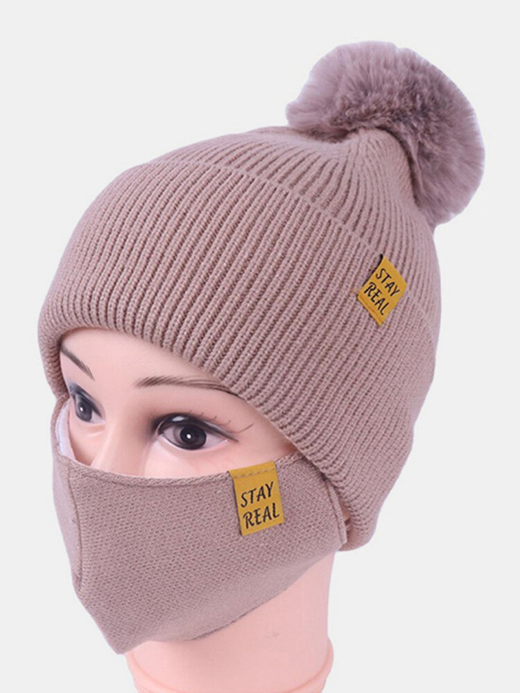 Women 2PCS Wool Winter Keep Warm Daily Casual Neck Face Protection Fur Ball Knitted Hat Beanie Mask