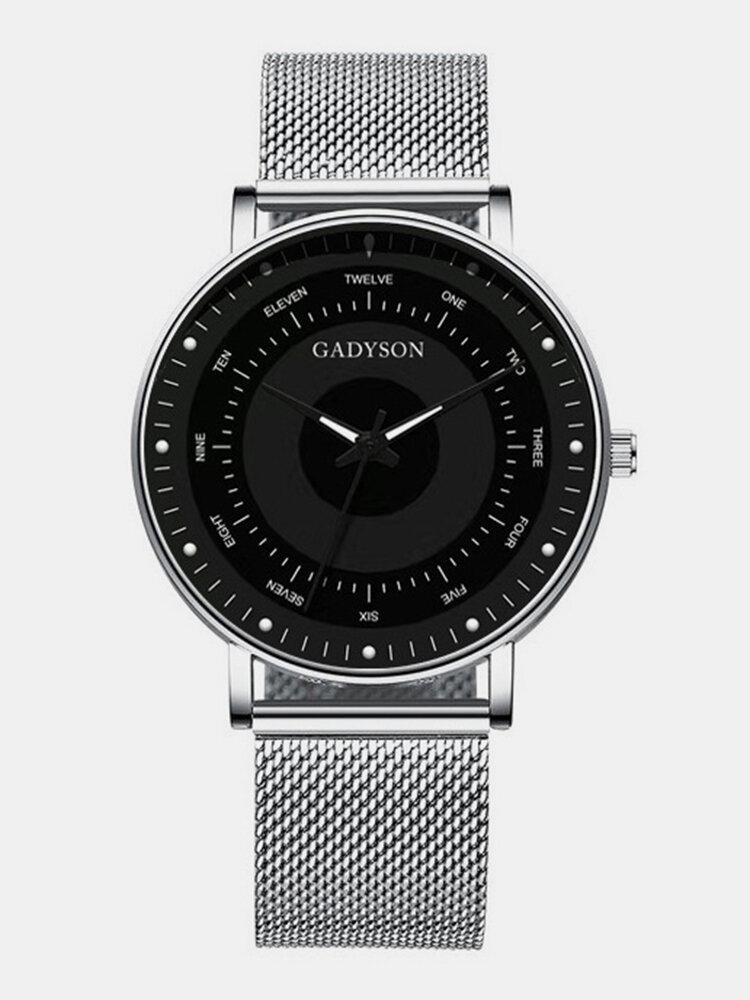 6 Colors Men Business Watch Adjustable Alloy Mesh Band Luminous Quartz Watch