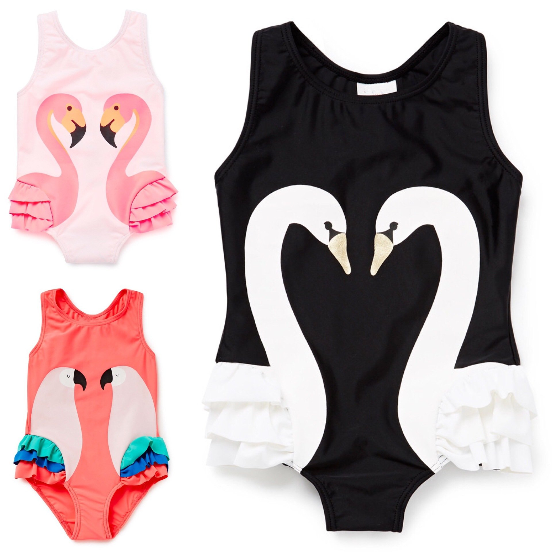Swan Printed Girls Swimwear with Hat Sleeveless One-Piece Jumpsuit Tankini Swimming Clothes