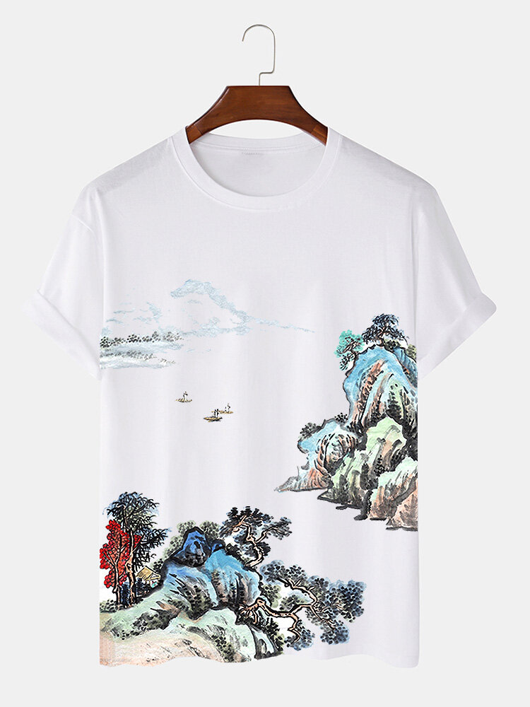 Mens Chinese Landscape Painting Print Street Short Sleeve T-Shirts