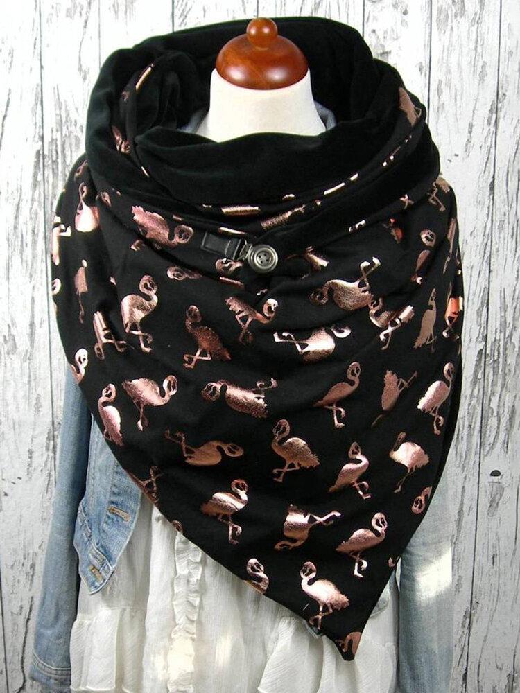 女性のスカーフショールラップ多機能の厚い暖かさのショールバックル印刷スカーフ