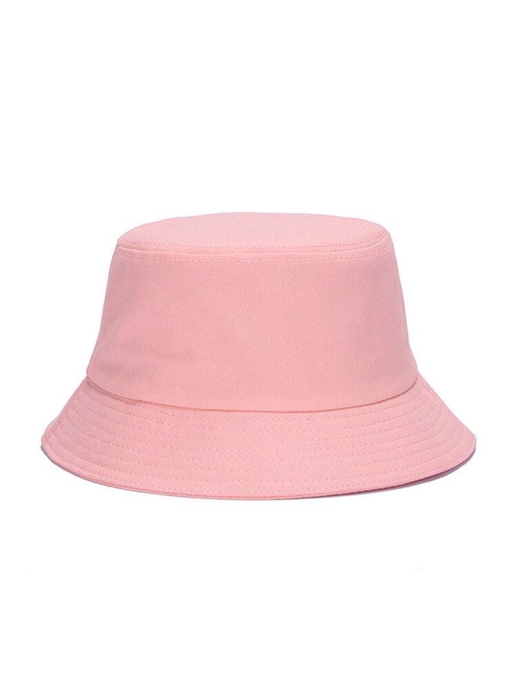 Chapeau de seau de modèle solide de coton d'été de femmes chapeau de plage respirant occasionnel de parasol