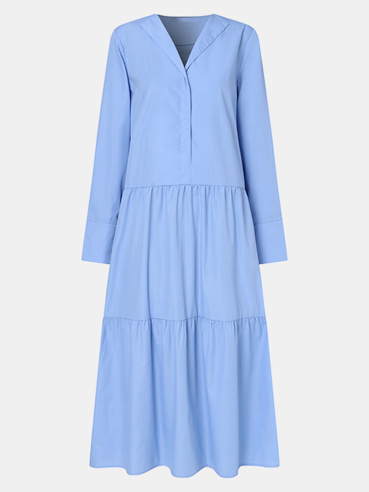 Solid Color Pleated V-neck Long Sleeve Casual Dress for Women