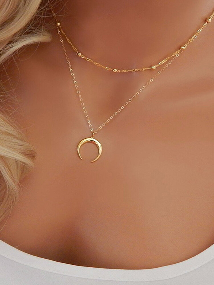 Bohemian Pendant Necklace Moon Stratification Chain Charm Necklace Ethnic Jewelry for Women