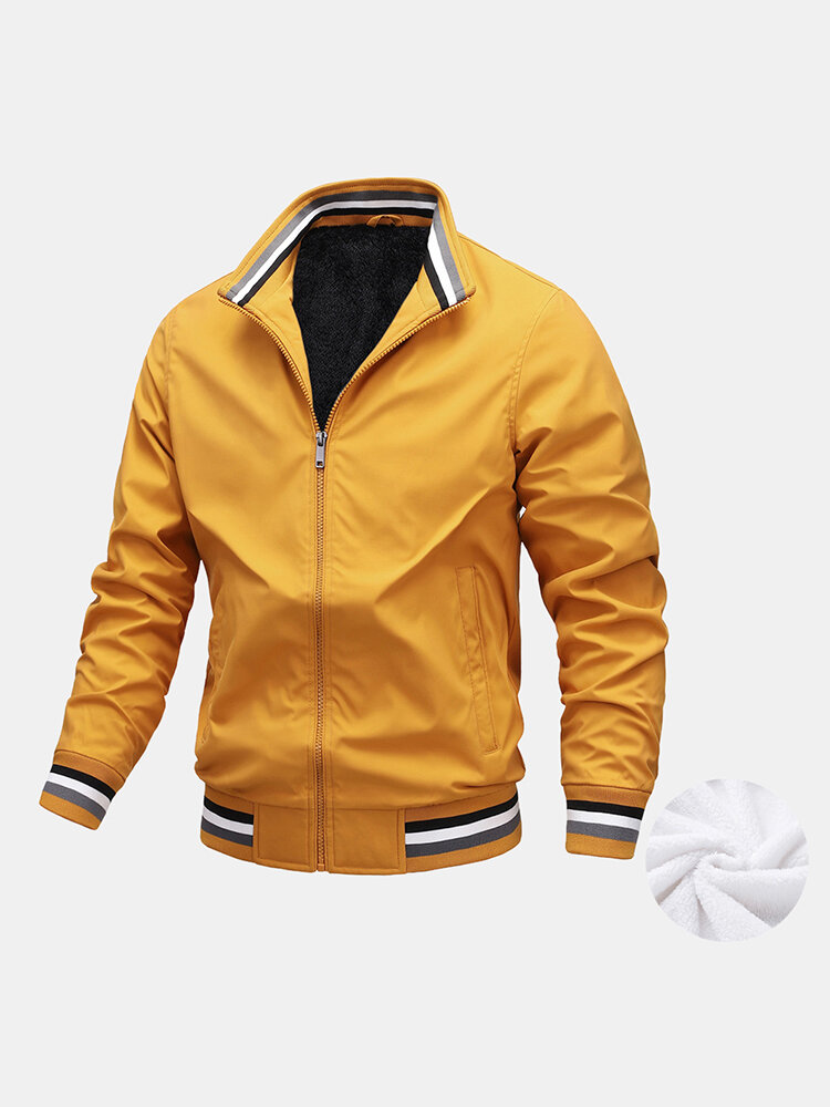 Mens Zip Up Thick Plush Lined Casual Jackets With Contrast Ribbed Trim