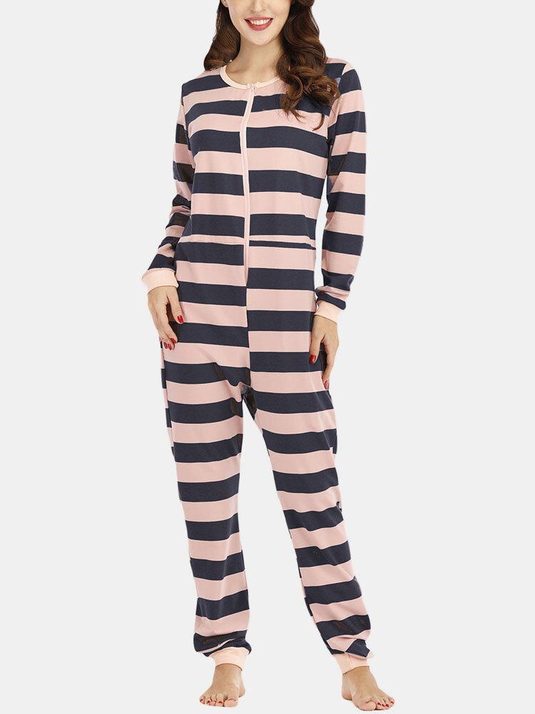 Women Plus Size Basic Horizontal Stripes Print O-Neck Long Sleeve Loose Home Onesies