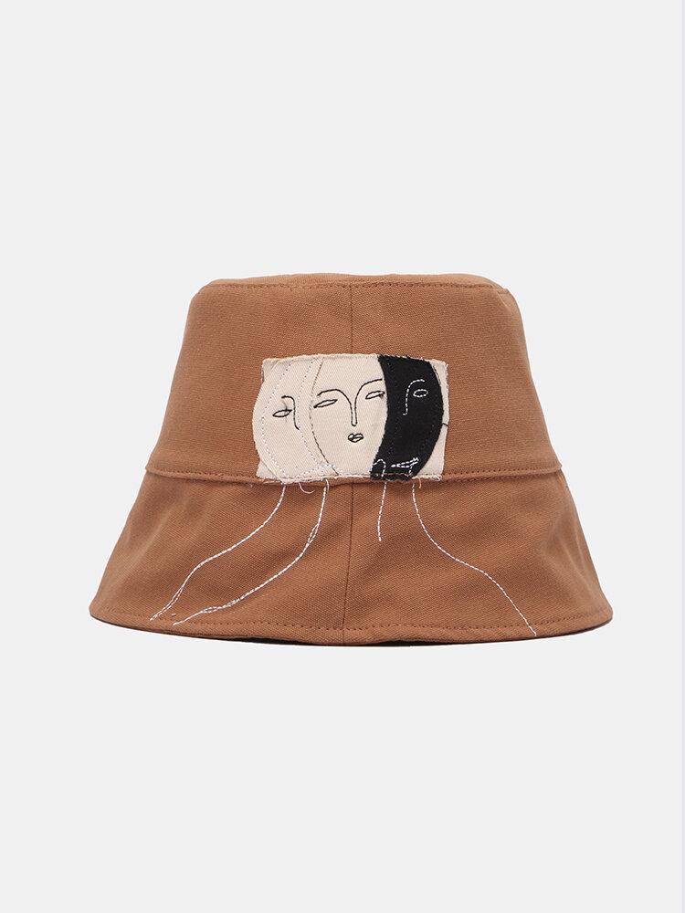 Cappello da pescatore unisex in cotone Fashion Personality Face Patch