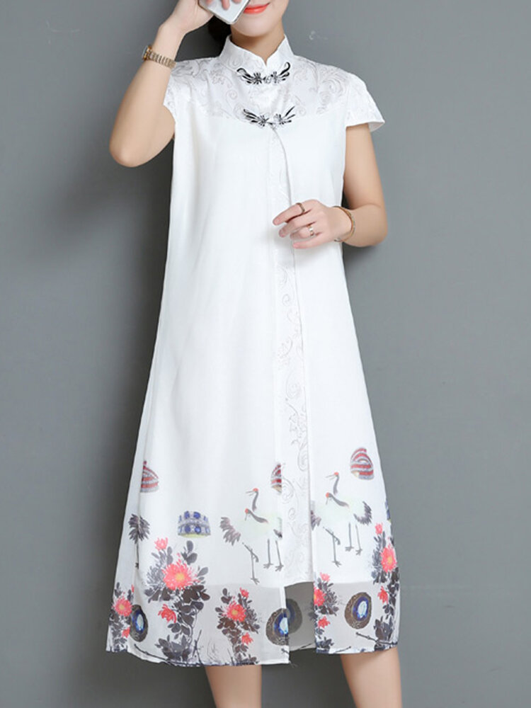 Chinese Style Women Printed Short Sleeve Dresses