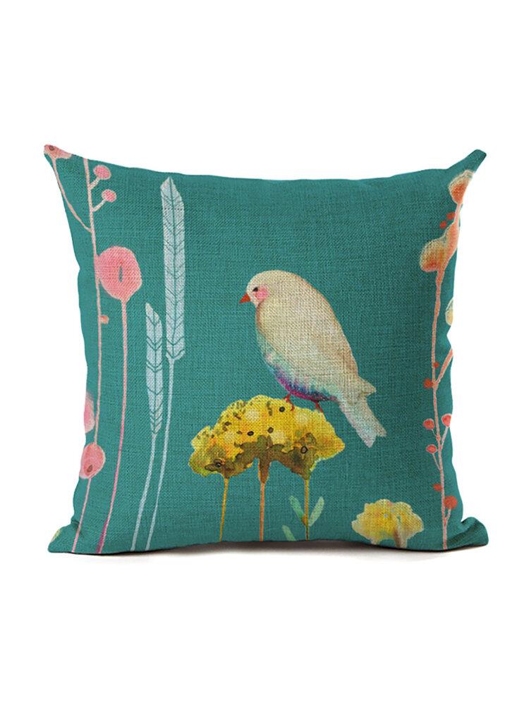 Blumen und Vögel 45 * 45cm Kissenbezug Leinen Dekokissen Auto Home Decoration Dekorativer Kissenbezug