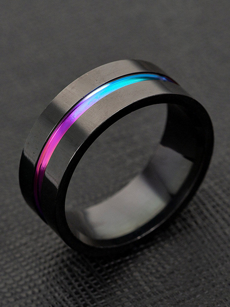 Trendy Simple Slotted Colorful Geometric-shaped Matte Titanium Steel Ring