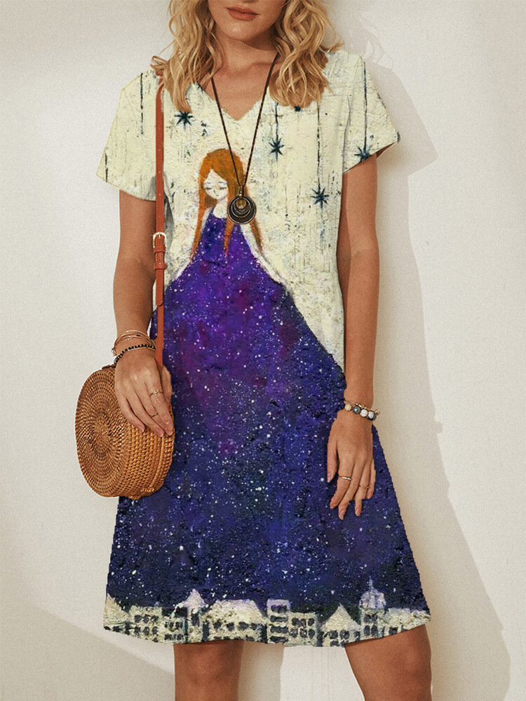 Print Patchwork V-neck Short Sleeve Plus Size Casual Dress for Women