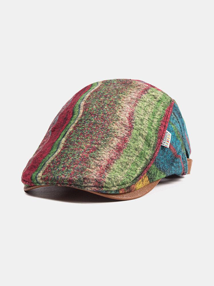 Plush Soft Fabric Plaid Stitching Beret Caps Warm Newboys Hats