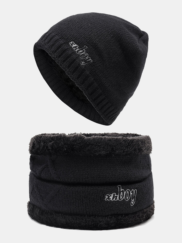 Men Winter Wool Velvet Knit Cap Warm Vogue Outdoor Casual Snow Ski Cycling Beanie Scarf Suit