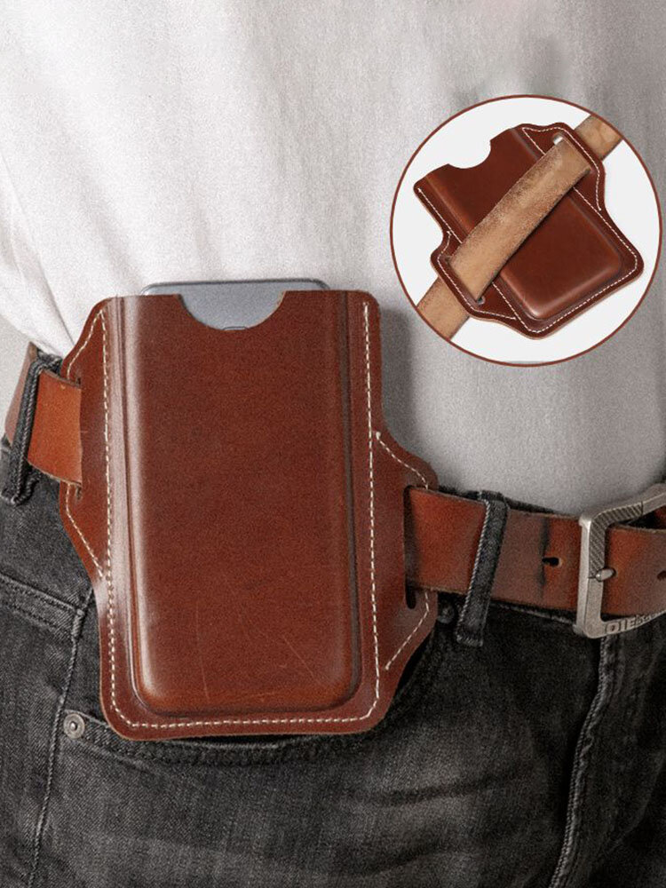 メンズ本革EDCソリッド6.3インチ電話ホルダーウエストベルトバッグ
