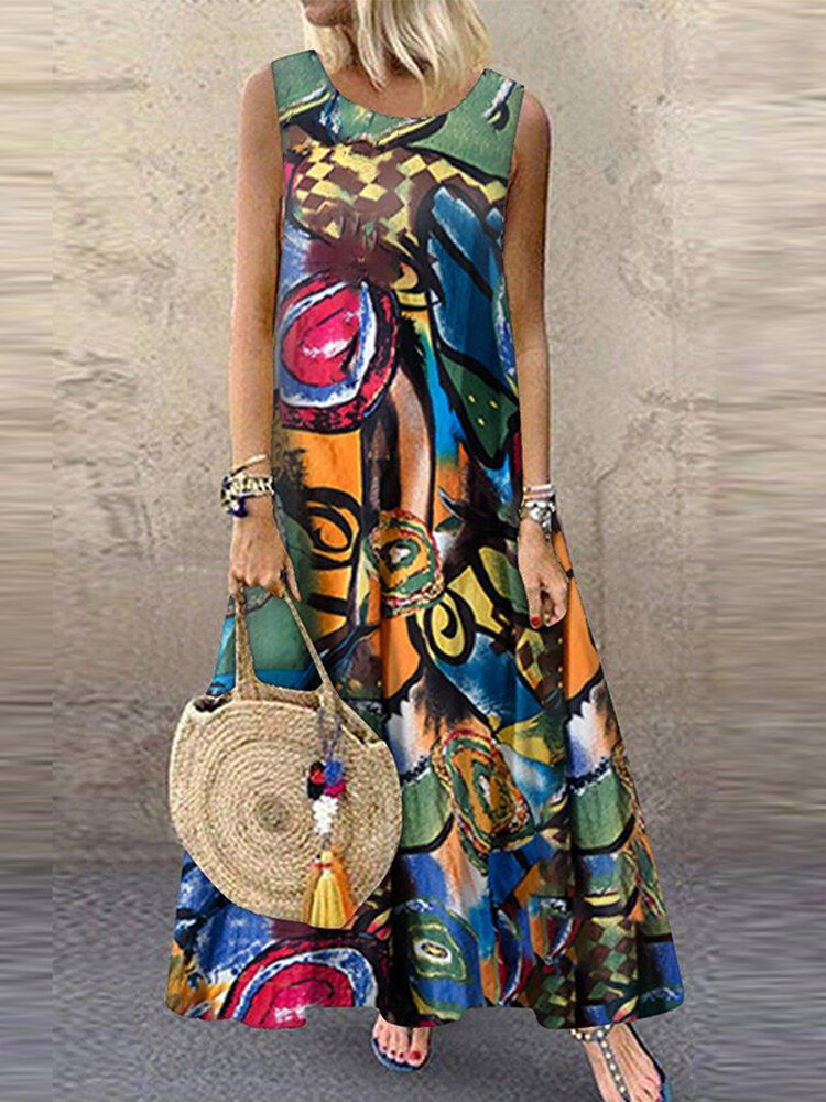 Vintage Printed Sleeveless Plus Size Casual Dress for Women