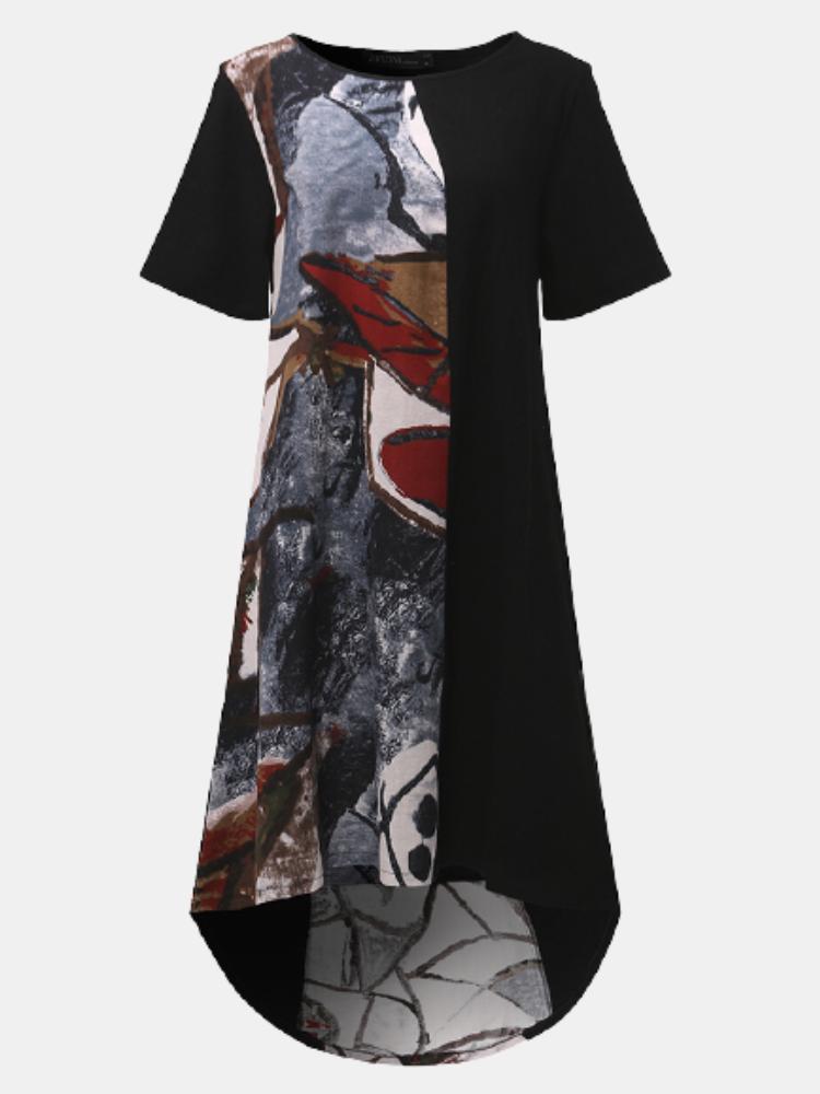 Vintage Print Patchwork Short Sleeve Plus Size Dress for Women