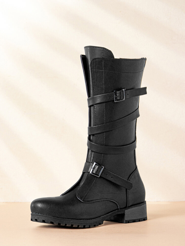 Women Casual Solid Color Retro Buckle Mid-Calf Riding Boots