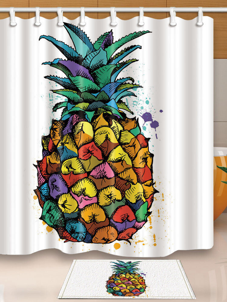 180*180cm Pineapple Bathroom Shower Curtain Floor Mat Waterproof Fabric With 12 Hooks