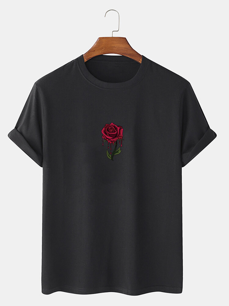 Mens Rose Graphics 100% Cotton Casual Short Sleeve T-Shirt
