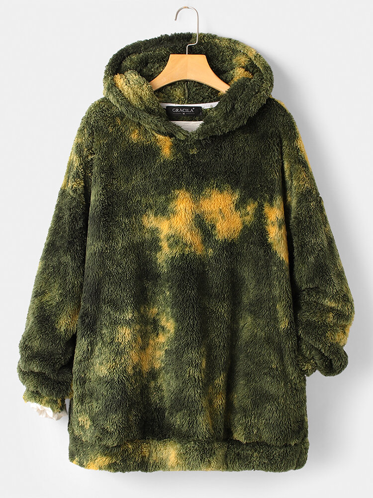Tie-dyed Print Long Sleeves Hooded Pockets Casual Hoodies For Women