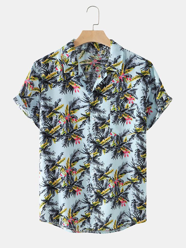 Mens Tropical Plant Print Revere Collar Holiday Cotton Short Sleeve Shirts
