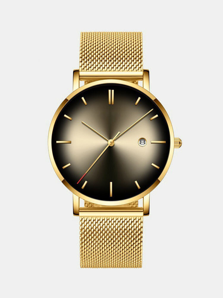 Alloy Business Gradient Color Multi-function Mesh Strap Watch