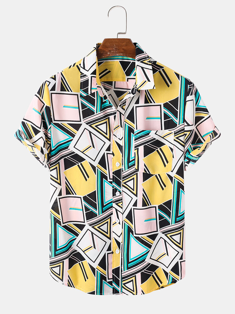 Mens Multi Color Geo Printed Button Front Street Short Sleeve Shirts