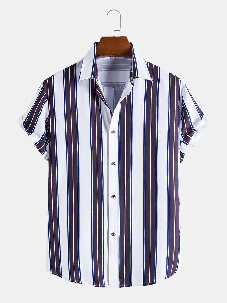Mens Plain Striped Button Up Casual Short Sleeve Shirts