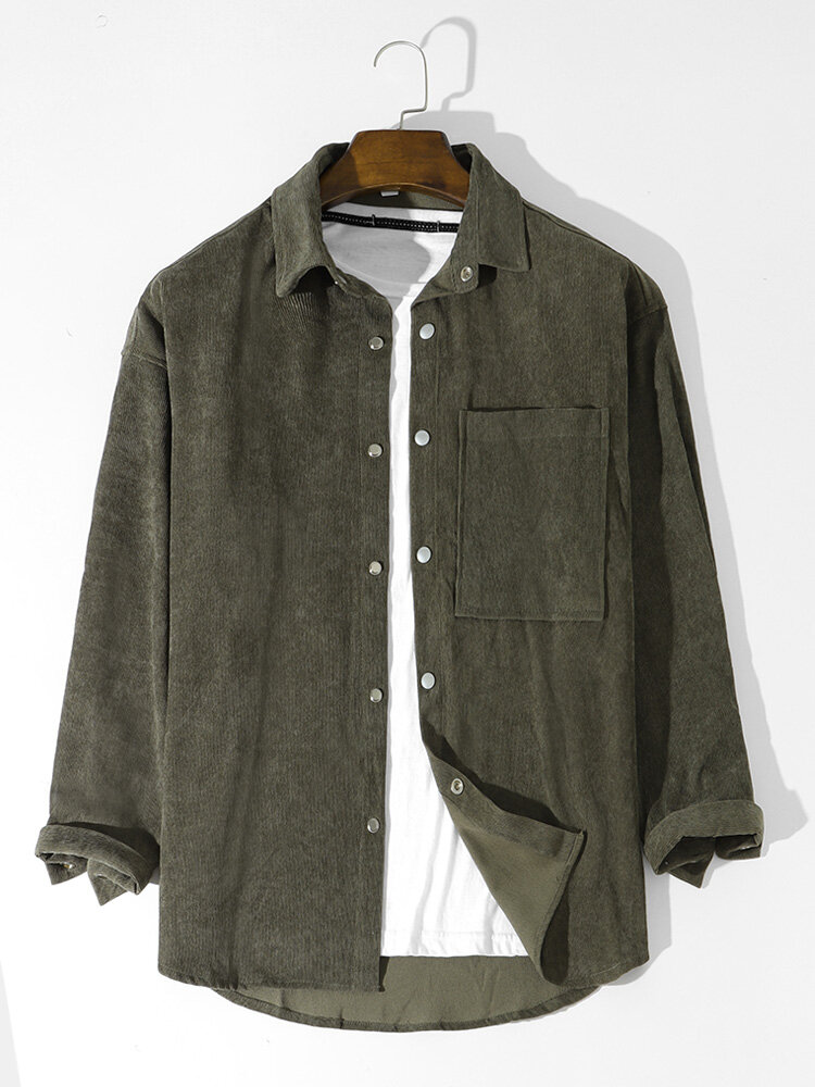 Mens Corduroy Solid Button Basics Long Sleeve Shirts With Pocket