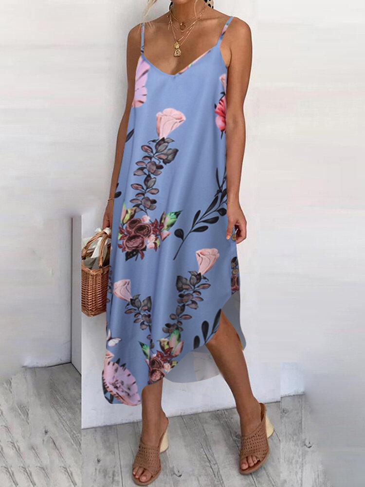 Flowers Print Irregular Spaghetti Straps Plus Size Dress