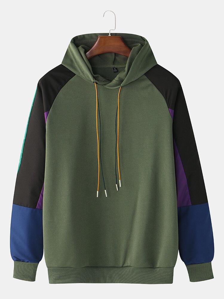 Mens Cotton Color Block Multi-Color Patchwork Loose Long Sleeve Hoodies