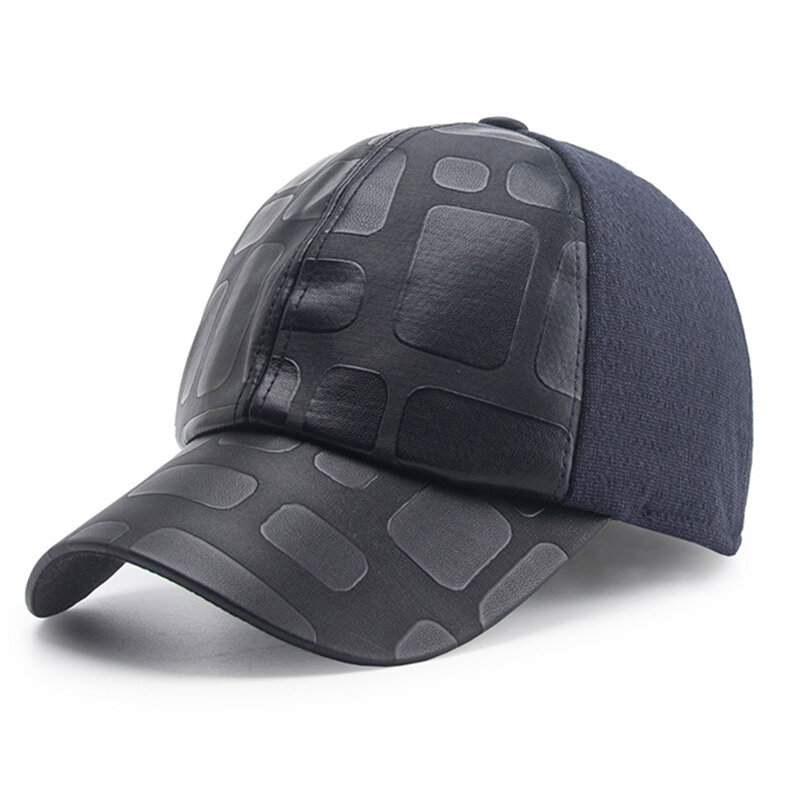 Mens Simple Style Warm Protect Ear Windproof Cotton Blending Baseball Cap Outdoor Sports Hat