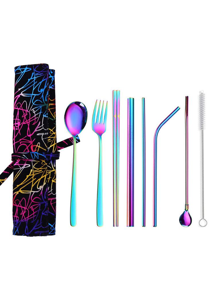 Набор из 7 предметов, столовые приборы из нержавеющей стали, ложка, палочки для еды, соломенный набор, креативный портативный На открытом воздухе, посуда