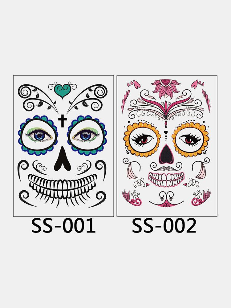 Cara Temporal Tatuaje Etiqueta Engomada Del Arte Corporal Impermeable Mascarada Divertida Maquillaje Halloween Falso Tatuaje Papel de Transferencia