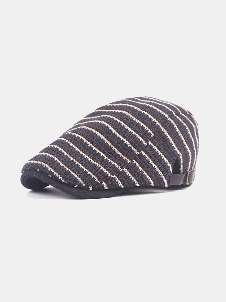 Mens Washed Knitted Stripe Beret Caps Outdoor Sport Adjustable Visor Forward Hats