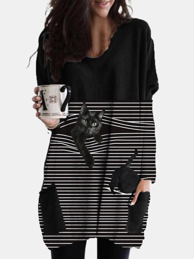 Striped Black Cat Print Pockets O-neck Plus Size Blouse