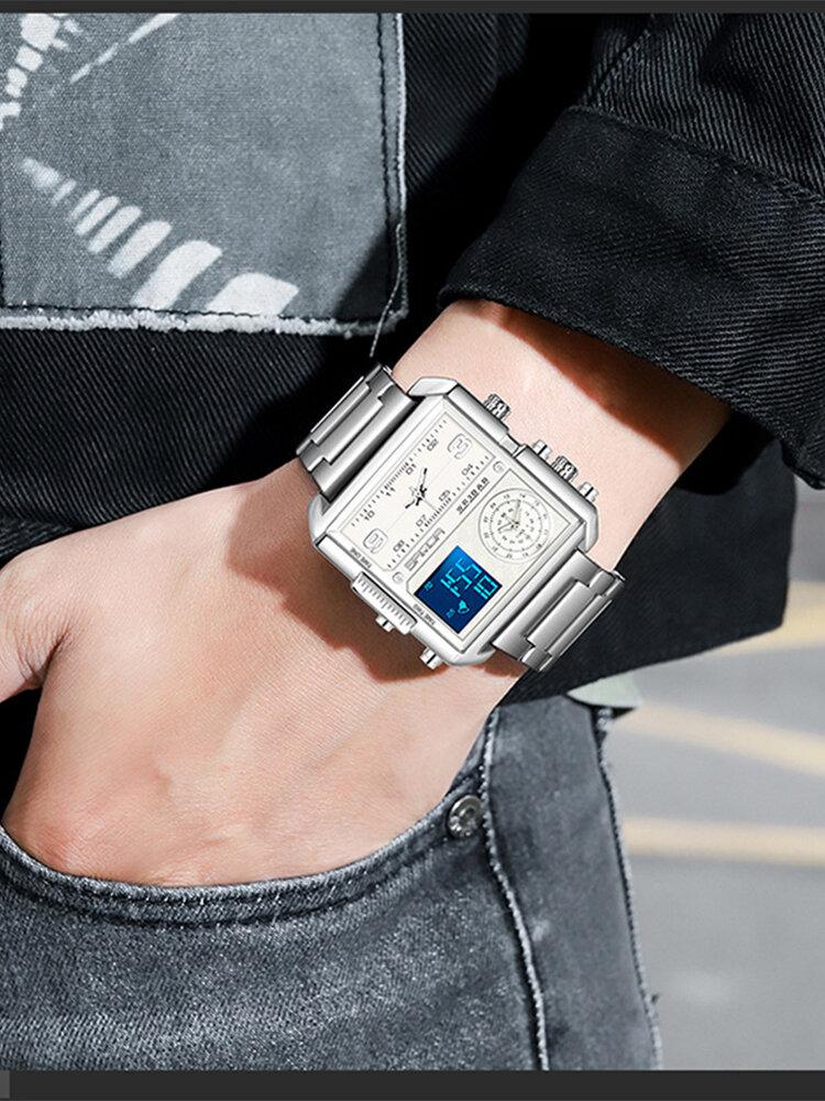 12 Colors Leather Stainless Steel Alloy Men Business Watch Luminous Digital LED Electronic Quartz Watch