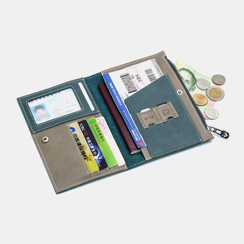 Women Genuine Leather Anti-theft Travel Wallet Multi-function Ticket Holder ID Card Wallet