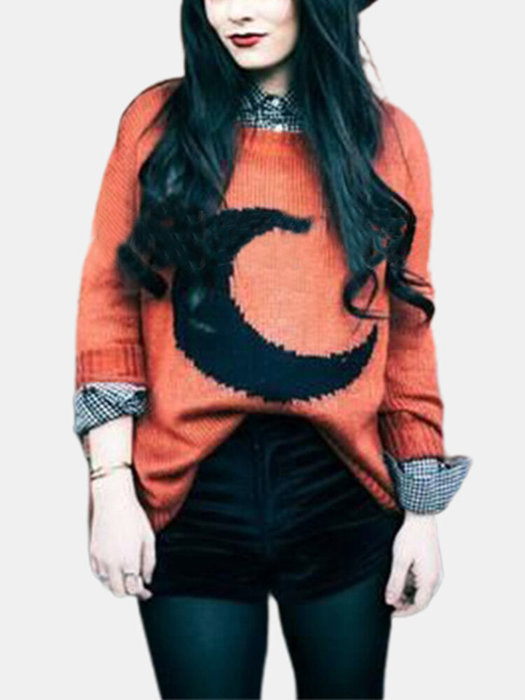 Moon Print Long Sleeve O-neck Casual Sweater For Women
