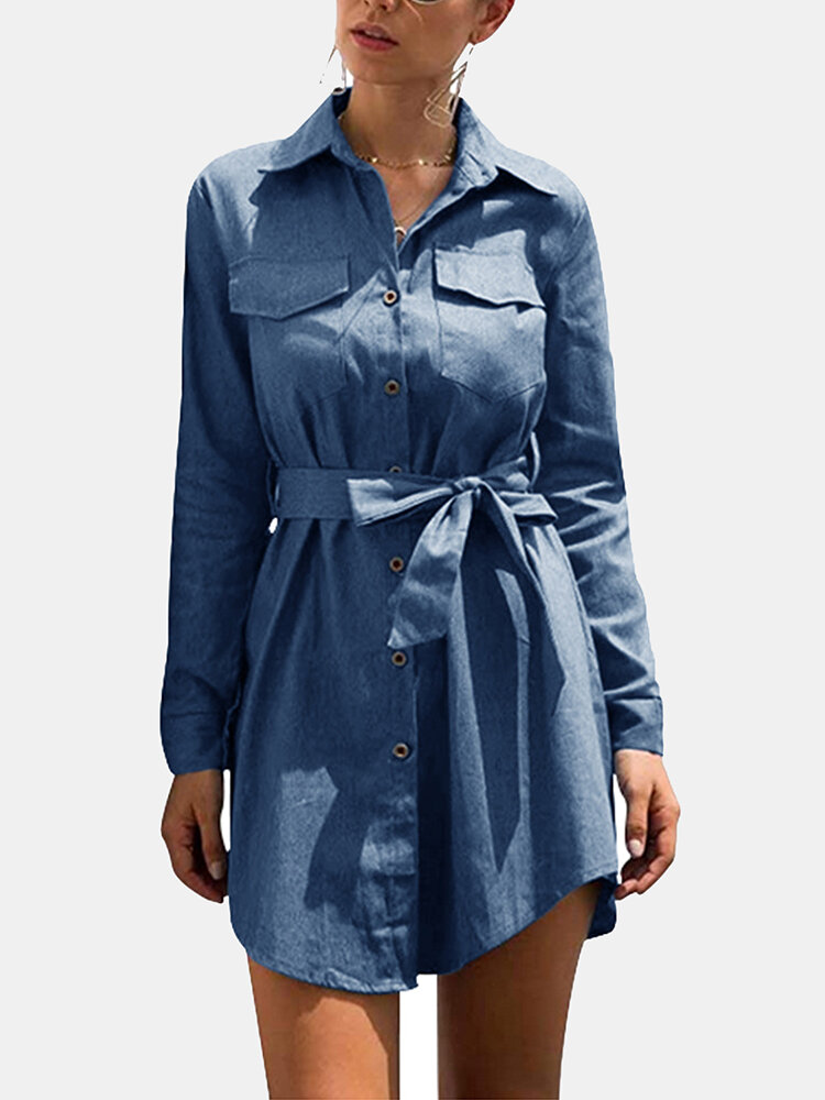 Solid Color Long Sleeve Turn-down Collar Asymmetrical Mini Dress With Belt
