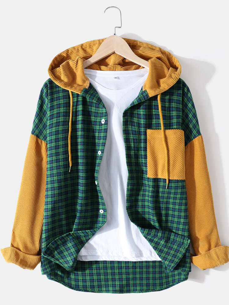 Mens 100% Cotton Check Patchwork Drop Shoulder Hooded Shirts With Pocket