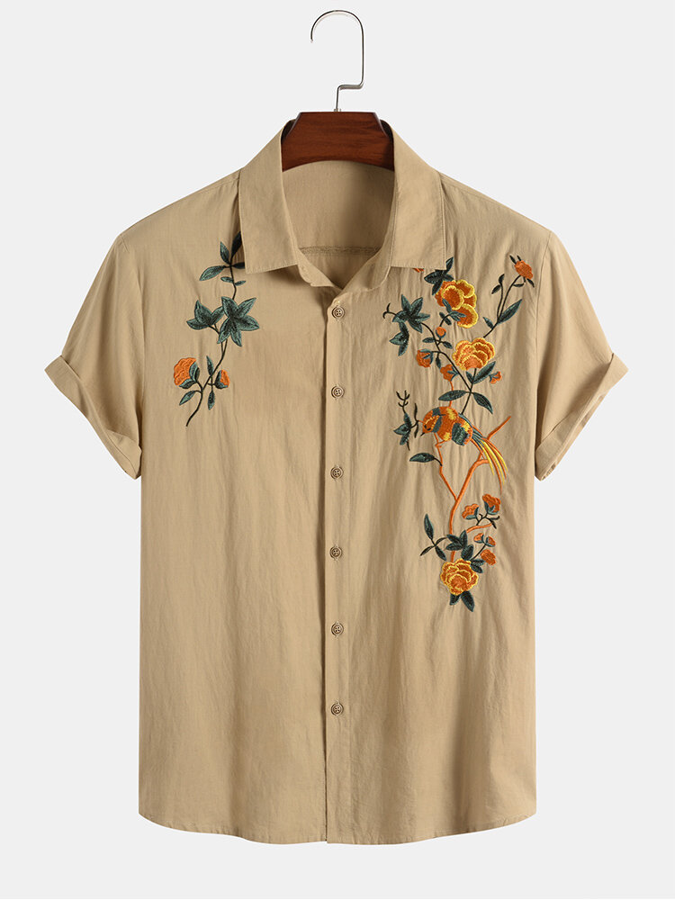 Mens Cotton Breathable Floral Embroidered Button Up Casual Short Sleeve Shirts
