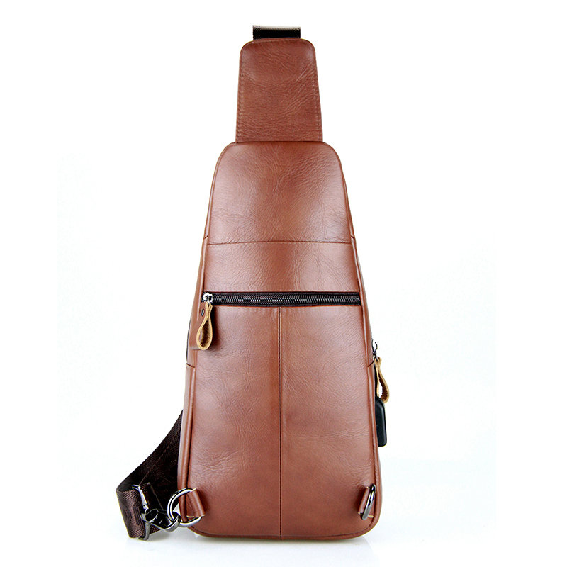 laoshizi Men Crossbody Bag Casual Cowhide USB Charging Chest Bag is worth buying