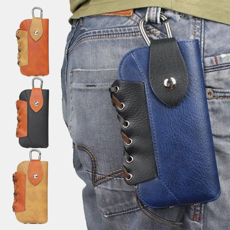 Men Leather Phone Holder Waist Belt Bag