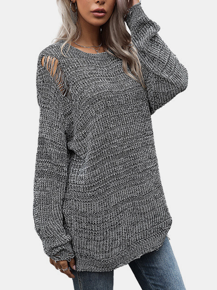 Solid Color Knitted Long Sleeves Casual Sweaters for Women