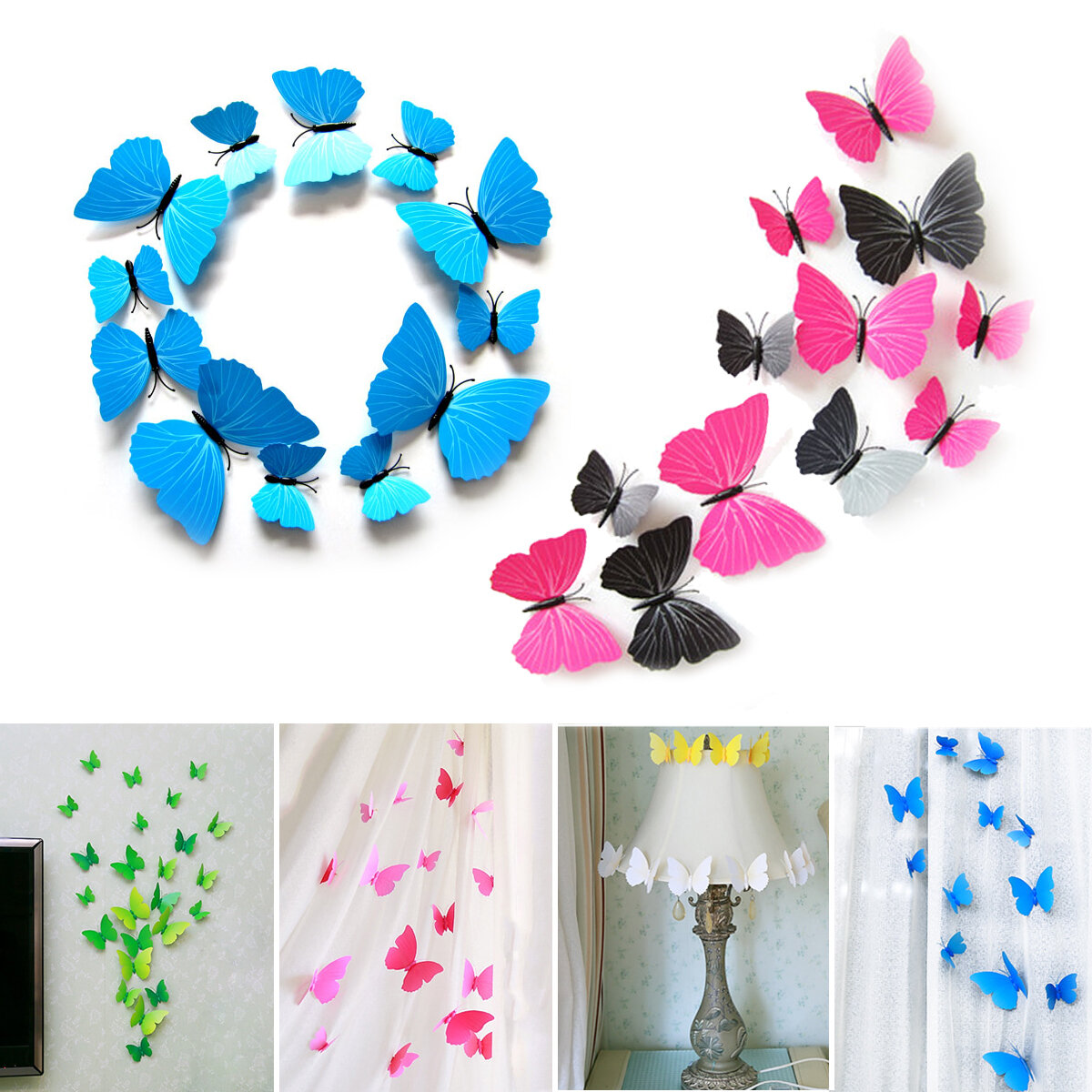 12PCS 3D Butterfly Art Design Stickers Decals Wall Home Decor Room Wedding Party Decorations