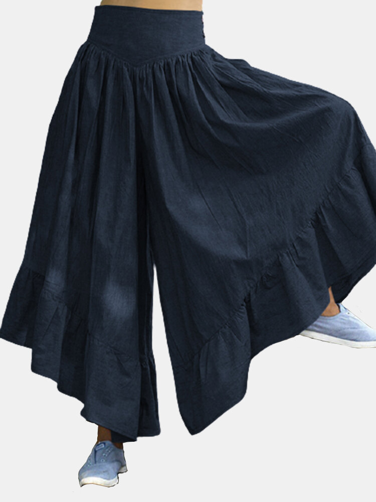 Solid Color Pockets Back Knotted Side Button Flare Cotton Pants