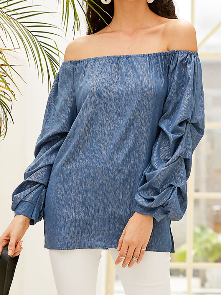 Solid Color Long Sleeve Chiffon Loose Blouse For Women